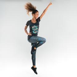 Camiseta Manga Corta Fitness Dance Domyos Mujer Negro