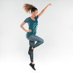 Camiseta Manga Corta Fitness Dance Domyos Mujer Azul Oscuro