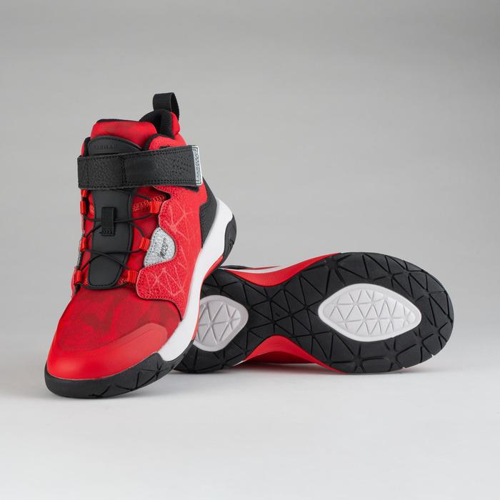 兒童款中階藍球鞋- 紅黑配色(Spider Lace)