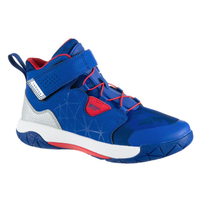 Boys'/Girls' Intermediate Basketball Shoes - Blue/Red Spider Lace