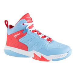男女兒童款中階籃球鞋SS500H-藍粉配色