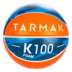 Basketbal K100 Schuim Minibal in schuim, maat 1, voor kinderen tot 4 jaar.