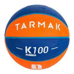 Minibasketbal Mini B maat 1 voor kinderen. Tot 4 jaar.blauw/oranje