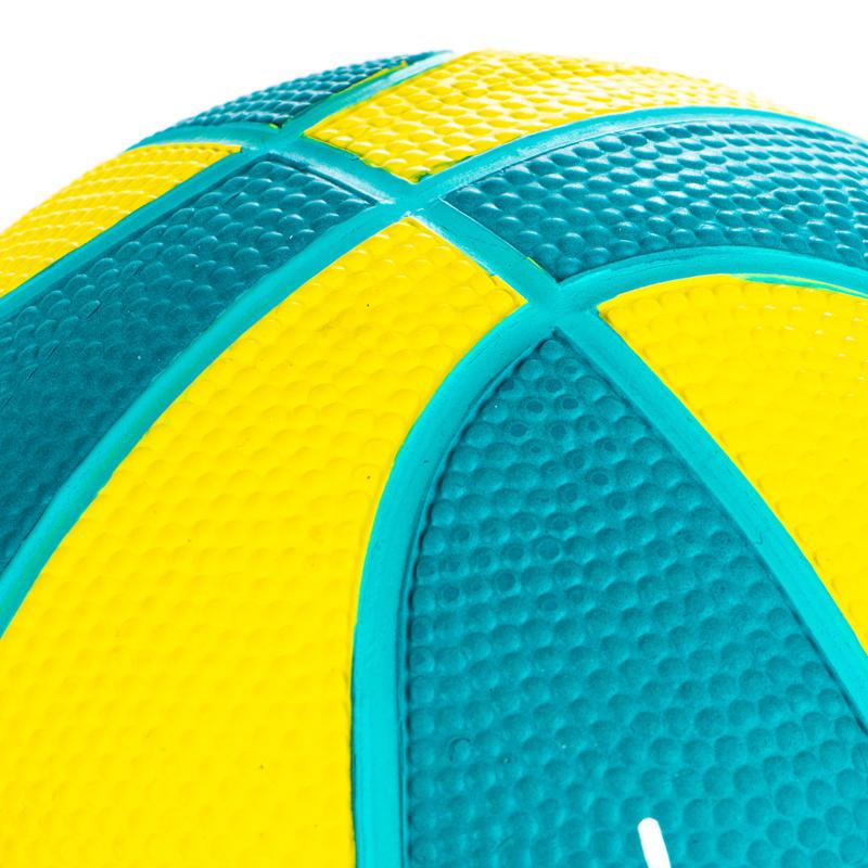 Mini ballon de basketball enfant Mini B taille 1. Jusqu'à 4 ans. Vert Jaune