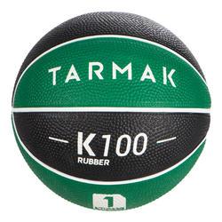 1號兒童款迷你籃球B。適合4歲以下的兒童。綠黑配色