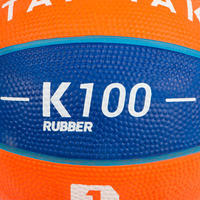 Ballon de basketball K 100 taille1Jusqu'à 4ans. Bleu et orange.