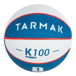 Minibasketbal Mini B maat 1 voor kinderen. Tot 4 jaar. wit en blauw