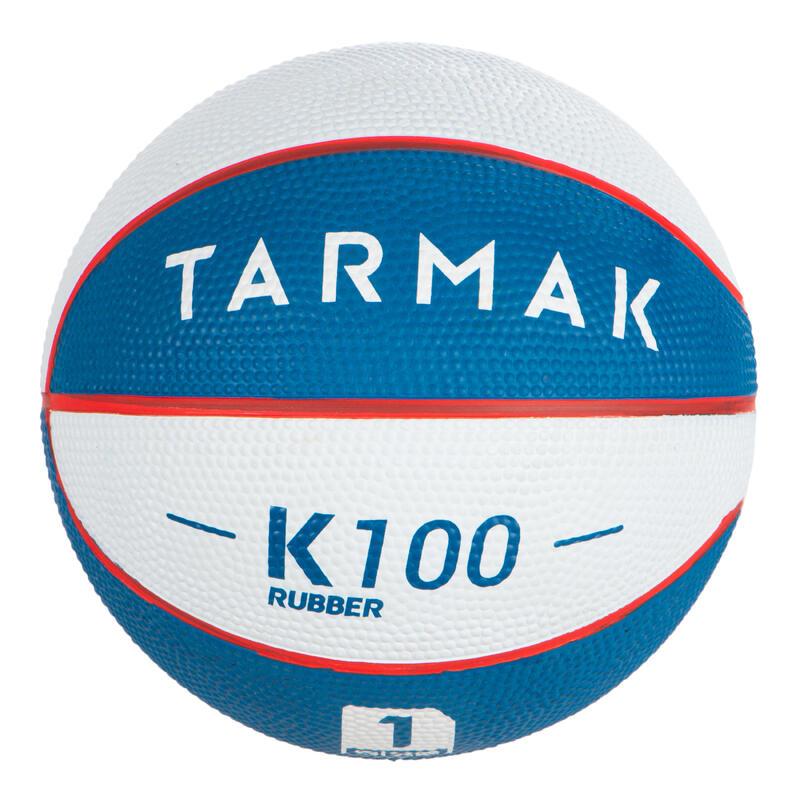 Mini ballon de basketball enfant Mini B taille 1. Jusqu'à 4 ans. Blanc et Bleu