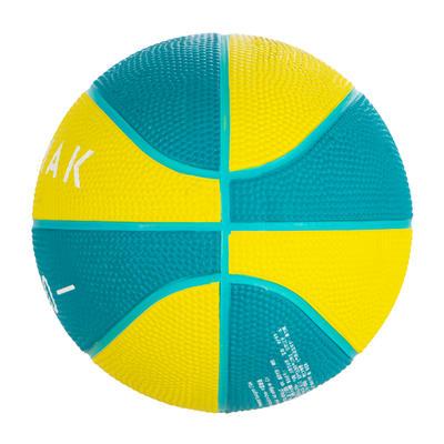Mini B Kids' Size 1 Basketball. Up to age 4.Green/Yellow