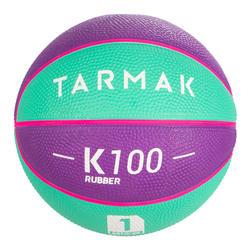 1號迷你籃球(4歲以下使用)。紫色與藍綠配色