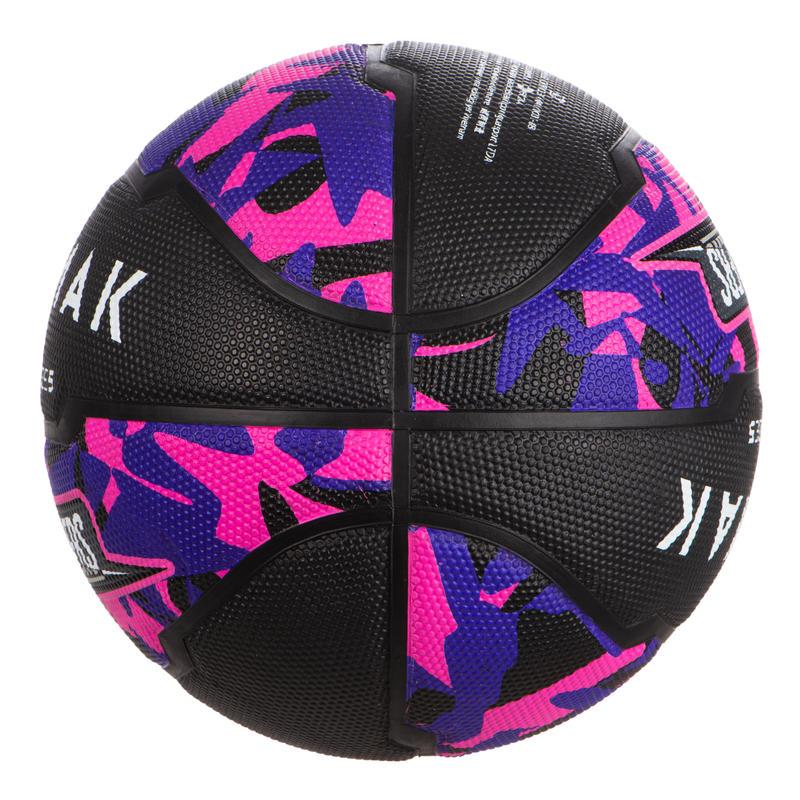 Ballon de basket enfant R300 taille 5 noir rose jusqu'à 10 ans pour débuter.