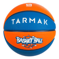 Ballon de basket enfant Wizzy basketball bleu orange taille 5.