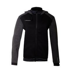 男款拉鍊連帽籃球運動外套J500-黑灰配色