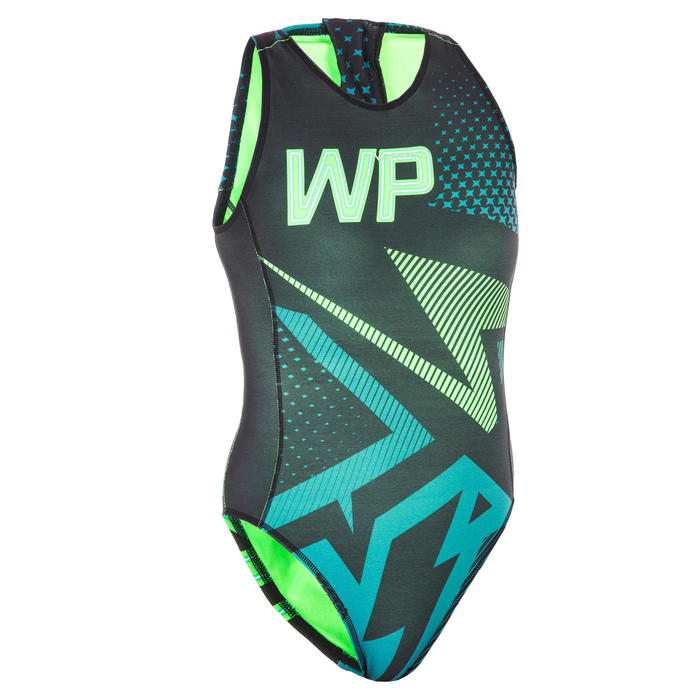 MAILLOT BAIN WATER POLO 1 PIÈCE 500 FEMME LILI VERT