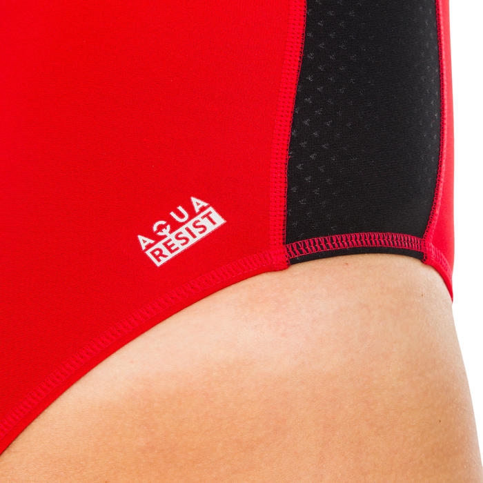 MAILLOT BAIN 1 PIÈCE WATER POLO 500 FEMME UNI ROUGE