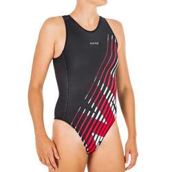 Badeanzug Wasserball 500 Damen Aurora schwarz