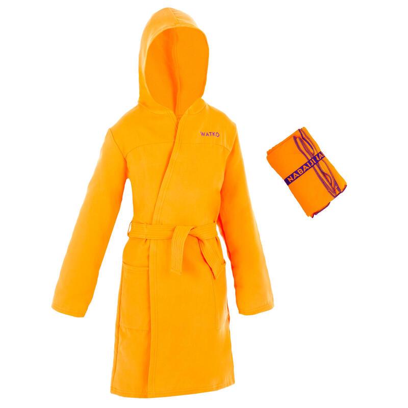 Set van badjas en handdoek voor kinderen microvezel L 80x130 cm oranje