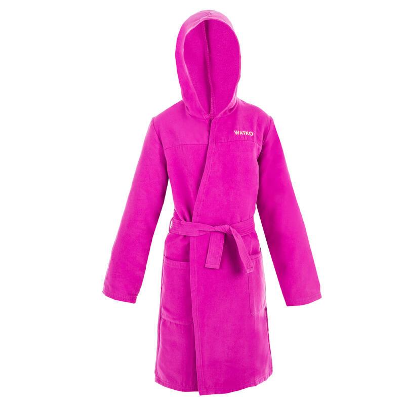 Compacte badjas voor kinderen microvezel paars