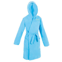 Badjas met capuchon voor kinderen lichtblauw compacte microvezel