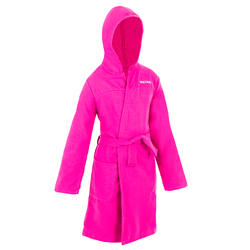 Kids' Lightweight Cotton Pool Bathrobe with Hood - Pink
