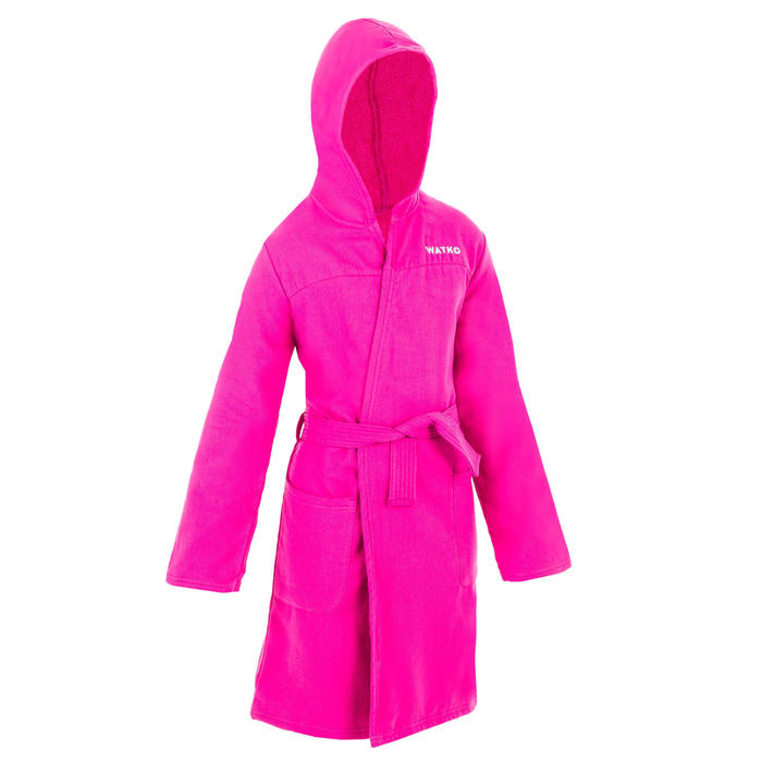 Badjas met capuchon voor kinderen roze licht katoen