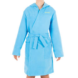 Peignoir de bain à capuche microfibre compact enfant bleu clair