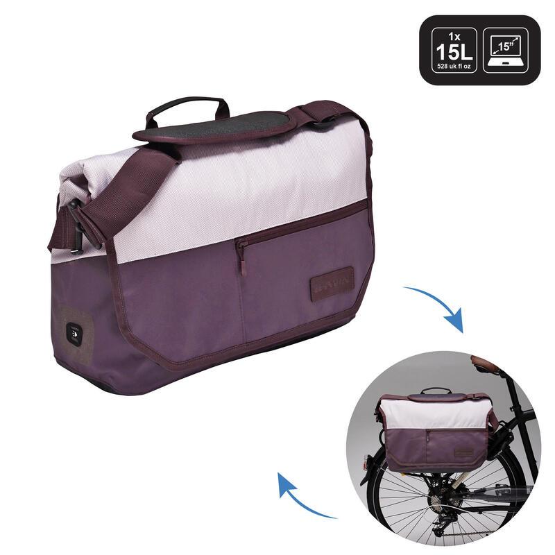 1 x 15L Bike Messenger Bag 500 - Plum/Beige