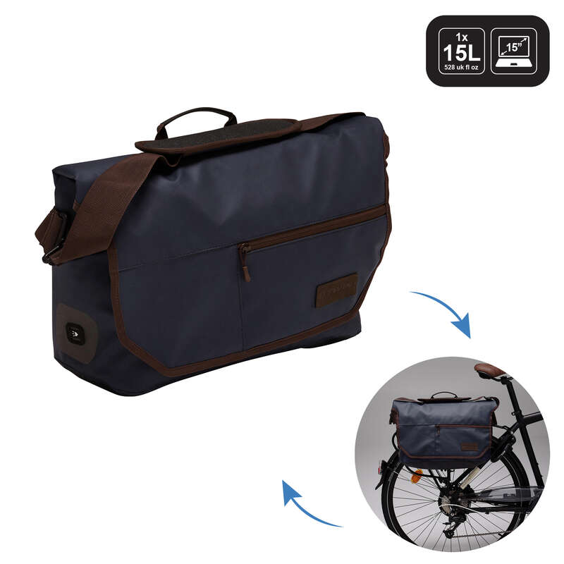 BIKE CARRIER LUGGAGE Cycling - 500 Bike Messenger Bag 1X15L B'TWIN - Bike Travel, Storage and Transport