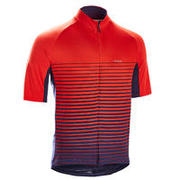 Men's Short-Sleeved Warm Weather Road Cycling Jersey RC100 - Stripes/Red