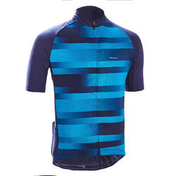 Men's Short-Sleeved Warm Weather Road Cycling Jersey RC100 - Vib/Navy