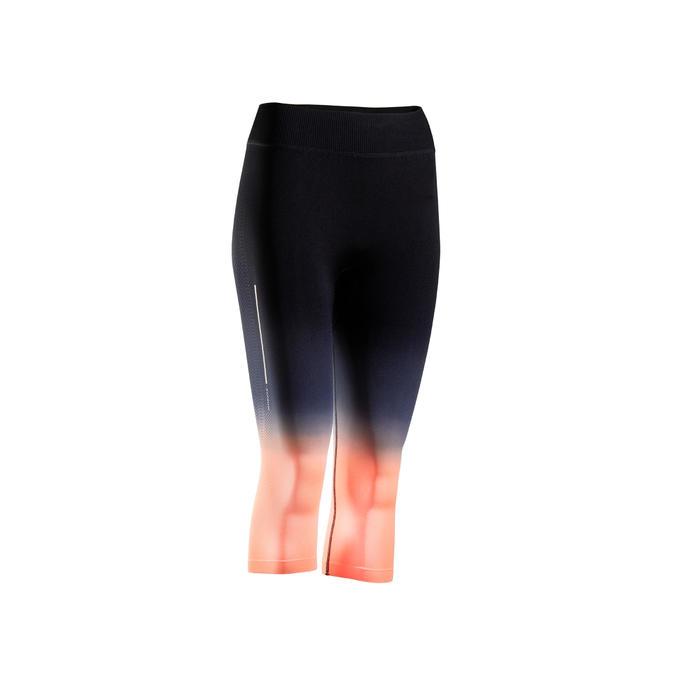 Ademende kuitbroek voor hardlopen dames Kiprun Care zwart/lichtoranje