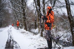 veste chasse femme battue poste camouflage fluo