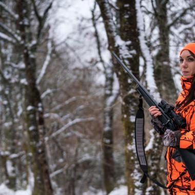 veste chasse femme battue poste camo fluo