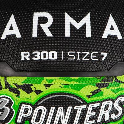 Ballon de basket homme R300 taille 7 vert noir à partir de 13 ans pour débuter.