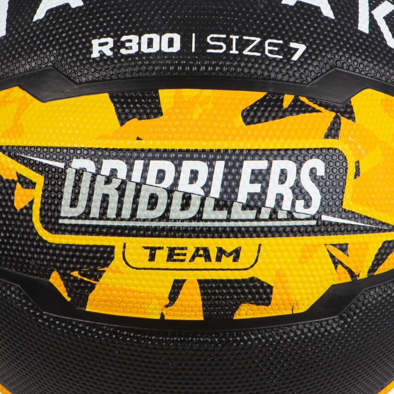 Size 7 Basketball for Men and Boys Over 13 R300 - Yellow/Black