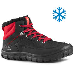Kids Snow Hiking Shoes (Mid Ankle) SH100 Warm - Black/Red