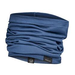 登山健行多功能美麗諾羊毛圍脖Trek 500-藍色