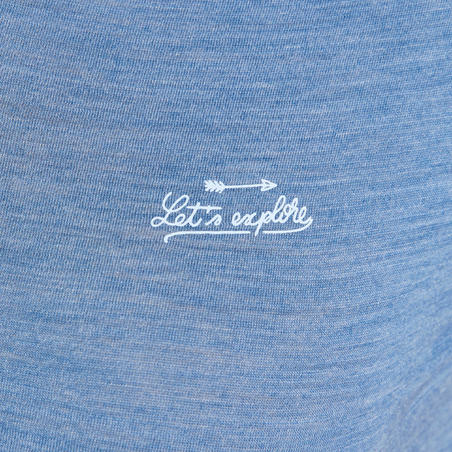 Camiseta lana merina de trekking viaje | TRAVEL 100 mujer azul