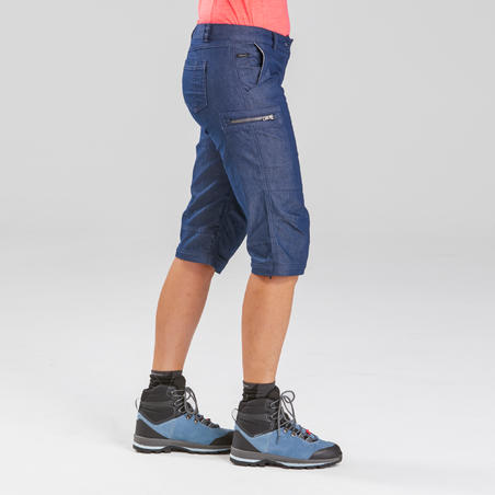 Women's travel trekking zip-Off trousers - TRAVEL 100 - blue denim