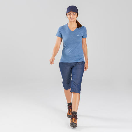 Women's Trekking Zip-Off Pants Travel 100 - Denim Blue