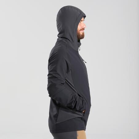Men's Mountain Trekking Softshell Windbreaker - TREK 900 WIND - black