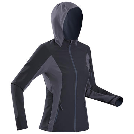 Women's Mountain Trekking Wind Jacket -TREK 900 - Black