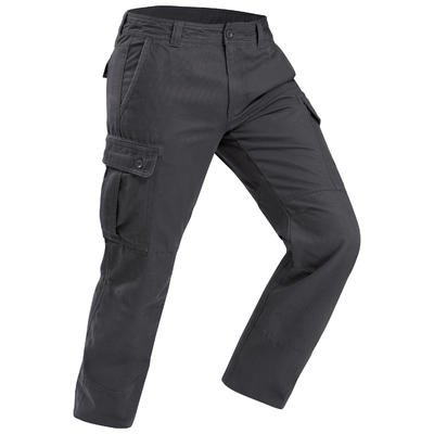 Men's warm trekking travel trousers - TRAVEL 100 - grey