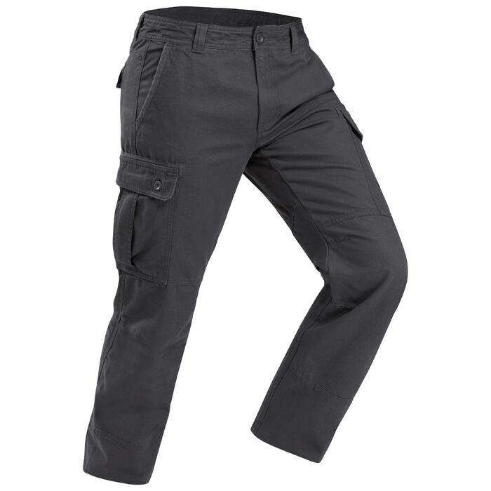 男款保暖登山健行長褲TRAVEL100-灰色
