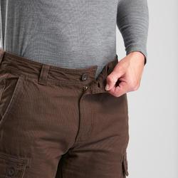 男款登山健行長褲TRAVEL 100 WARM-棕色