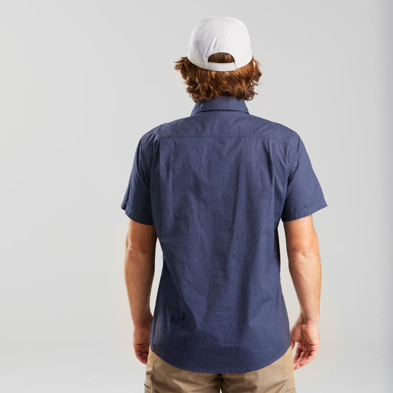 Men's Short-sleeved Travel Trekking Shirt TRAVEL 100 - Blue