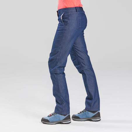 Pantalon modulable de trek voyage - TRAVEL 100 denim bleu - Femme