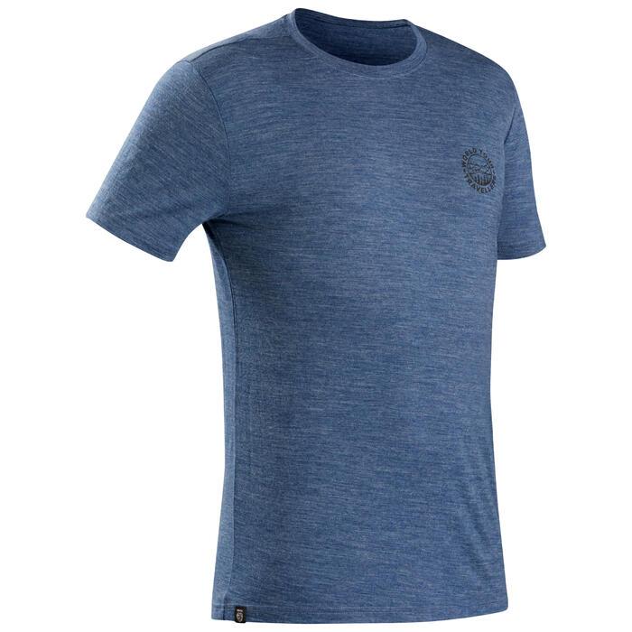 Merino T-shirt voor backpacken Travel 100 heren blauw