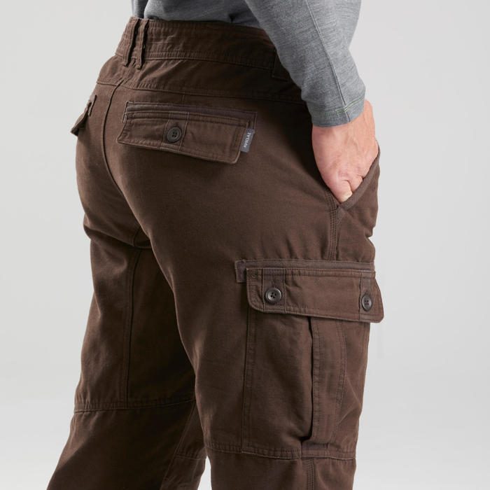 Men's Travel trekking trousers - TRAVEL 100 WARM - brown