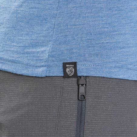 تي شيرت Travel500 للسيدات قصير الأكمام من صوف المارينو للسير لمسافات طويلة- أزرق
